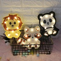 LED Animals Decotation Night Lights Unicorn Horse Panda Lion Raccoon Dinosaur Flamingo Pink Swan Kids Bedside Lamp