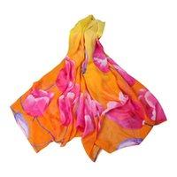 Женщины Scarf Multicolor Peach Blossom Печать длинные шифоновые мягкие обертки дамы шал шарфы Accesorios Mujer 2021 # P1