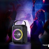 W-King T9 Mini Altavoz del Partido Bluetooth 20w Altavoz del cine, TWS inalámbricos Luces LED de color mezclado, TF Tarjeta / Reproducción USB RGB Subwoofer 4000mAh Outdoorspeaker