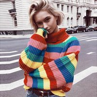 Women's Sweaters Female Multicolor Stripe Loose Striped Sweater Long Sleeve Kawaii Clothing For Women Blouse Pullover FB