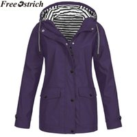 Women's Jackets Waterproof Rain Hooded Jacket Women Solid Color Long Sleeve Zipper Drawstring Pocket Coats Fashion Plus Size Loose Womens To