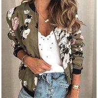 Women's Jackets Women Floral Printed Spring Winter Long Sleeve Zipper Bomber Jacket Casual Pocket Slim Female Fashion Outwears Plus Size