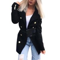 Women's Wool & Blends Women Trench Coat 2021 Lady Jacket Solid Color Slim Cardigan Double-breasted Turn-down Collar Woolen Jacket For Work