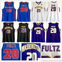 NCAA Washington Huskies Markelle College # 20 Fultz Jersey 보라색 블랙 화이트 Dematha 고등학교 Markelle Blue Fultz Basketball Jerseys