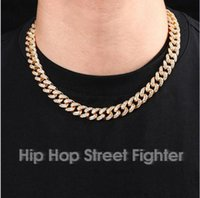 ZB002 Hip Hop Street Fighter Trendsetter Cuba Chain Inlaid with Diamond Bracelet 12mm Full for Men and Women Gold Plated Necklaces