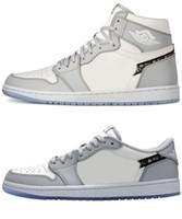 2021 релиз воздуха аутентичные 1 высокий og ботинки волка серый парус фотон пыль белые низкие мужчины женщины открытый с оригинальной коробкой спортивные кроссовки CN8607-002
