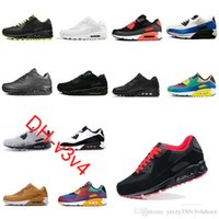 90 أحذية الاحذية الرجال جميع أسود أبيض كلاسيكي تنفس السطح الرياضة في الهواء الطلق الهواء وسادة سنيكرز 36-45 DH-B32