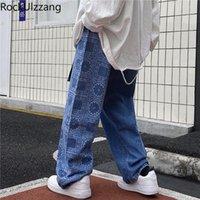 Solta reta paisley bandana patchwork homens jeans calça calça calça calça calças moda folgue folgado japonês streetwear hip hop lavado azul preto