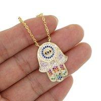 Multicolor Zircon Hamsa Hand Necklace With Rainbow cz Eye statement trendy lady jewelry