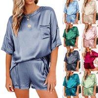 Summer Spring Imitated Side Pajamas Set of Women Sexy Nightwear Home Pak Satine Female Loose Lounge Wear Sets Pair
