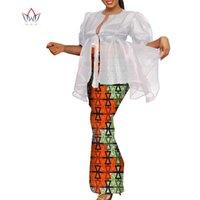Etnik Giyim Özelleştirmek Afrika Baskı Ruffles Kolları Tops ve Etek Kadınlar için Setleri Bazin Riche 2 Adet Etekler WY9971