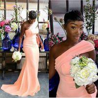 하나의 어깨 인어 신부 들러리 드레스 가든 국가 여성 웨딩 게스트 이브닝 파티 가운 마이프 명예 드레스 플러스 사이즈 새로운