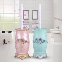 화장실 브러쉬 홀더 현대 브러시 세트 유럽 창조적 인 욕실 플라스틱 라운드 헤드베이스 수지 LB51308