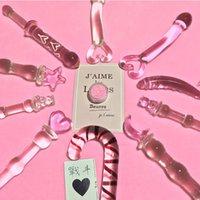 Giocattoli anale perline rosa cuore buplug vetro dildo tappo vaginale e stimolazione per le donne