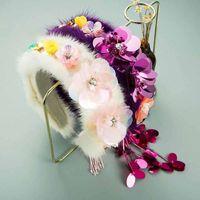 2021 INS Этнические искусственные Цветочные повязки для женщин Роскошный Кролик Формин для волос Bridal Свадьба Принадлежности для волос Головные уборы