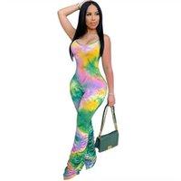 VNUAR 새로운 패션 서스펜 넥타이 염색 Jumpsuit 3561 새로운 패션 여성의 섹시한 서 넥타이 염색 Jumpsuit 슬링 여성 섹시 슬링 3561