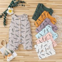 Jumpsuits 7 Colors Baby Girls Boys Romper Summer Born Infant Button Sleeveless Rompers Toddler One-piece Cotton Linen Clothes