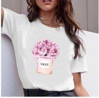 Футболка в стиле женщины с Vogue буквы Tee бутылки цветок печать женские футболки