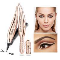 Maquillage professionnel cylindrique crayon plumes plumes forme noire liquide eye-liner des eyeliners de longue durée des yeux femmes femmes maquillage boîte cosmétique outil