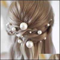 Clips & Barrettes Jewelry Jewelry18Pcs Women U-Shaped Pin Metal Barrette Clip Hairpins Simated Pearl Bridal Tiara Hair Aessories Wedding Hai