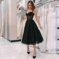 Vestidos de noite novos vestidos preto vestidos espaguete spaghetti polka dot comprimento do chá de tulle festa formal vestido curto vestido de festa