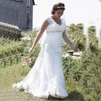 New Plus Size Empire Brautkleider Kappenhülse V-Ausschnitt Perlen Hohe Taille Spitze Sweep Zug Brautkleider Sonderanfertigungen