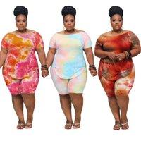 여름 플러스 사이즈 여성 짧은 복장 2 조깅 의류 트랙스 xl-4xl 여성 캐주얼 넥타이 염료 인쇄 바지 양복