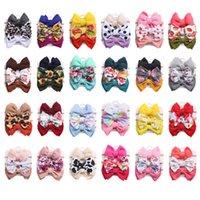 Accesorios para el cabello 24sets / lot Soplo Scourno Nudo Nylon Diadema Elástica Girasol Dot Rainbow Print Band Fashion Baby Girls Headwear