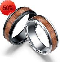 8 ملليمتر التنغستن خواتم الاصبع الراحة تناسب حجم 6-12 الطبيعة الخشب البطانة 316 لتر الفولاذ المقاوم للصدأ الرجال النساء خاتم الزواج الفضة الأسود