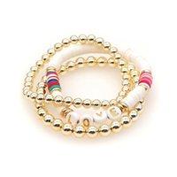 Beaded, Strands Go2Boho 3pcs set Gold Color Beaded Bracelet Heishi Bracelets For Women Fashion Polymer Clay Beads Pulseras LOVE Letter Jewel