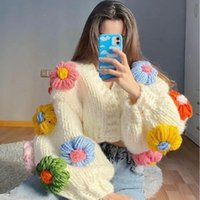 Women's Jackets Ailigou 2021 Autumn And Winter Cardigan Multicolor Floral Knitted Decoration Long Sleeve Loose Jacket Warm Sweater