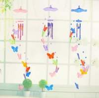 butterfly wind chime ornaments creative home garden decoration craft children birthday gift butterflies pendant windchimes decors SN2296