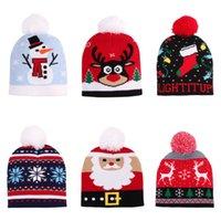 Children's Knit Christmas Hats for Kids Warm Sweater Santa Elk Knitted Beanie Hat Deer Cartoon Patteren Beanies Santas Gift Kid New Year Supplies
