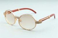 2020 novos pernas de madeira natural óculos de sol 7550178-B de alta qualidade diamante inteiro envolto óculos de sol quadro tamanho: 55-22-135mm