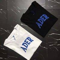 한국어 버전 2021 봄과 여름 새로운 ADE 청바지 자수 짧은 소매 애호가 T 셔츠 남성과 여성 패션 브랜드 탑
