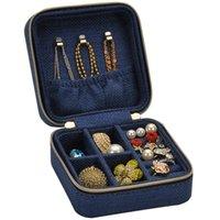 الصينية مطرزة مربع مجوهرات صغيرة للإزالة الكتان الصغيرة المحمولة الأذن أقراط تخزين مربع