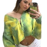 Women's Jackets 2021 European American Street Style Spring And Summer Sweater Coat Plus Size Loose Sexy Tie-dye Cardigan Casual Top JD1036
