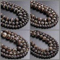 Porcellana Gli occhi tibetani dzi agati la religione di pietra marrone naturale 6 8 10 mm perline sfuse rotonde per i gioielli che fanno il braccialetto