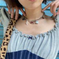 Harajuku Punk Style Butterfly Love Heart Pendant Choker Chain Necklace For Women Egirl Goth Hip Hop Street Jewlery Accessories