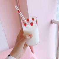 Wine Glasses Small Fresh With Straws Girl Heart High Borosilicate Pyrex Milk Juice Water Glass