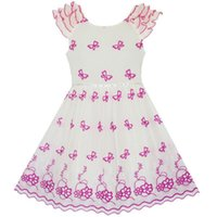 Girl's Dresses Flower Girl Dress Pink Embroidered Butterfly Princess Pageant 2021 Summer Wedding Party Size 4-10 Carnival