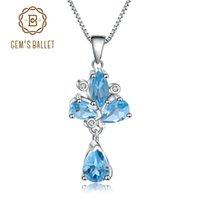 Edelstein-Ballett 3.34CT Natürliche Swiss Blue Topaz 925 Sterling Silber Blume Anhänger Halskette Für Frauen Hochzeit Feine Schmuck-Medailetten