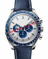 럭셔리 남성 달 시계 50 주년 기념 제한 블루 세라믹 베젤 아폴로 13 뒷 표지 쿼츠 운동 캔버스 스트랩 스포츠 손목 시계
