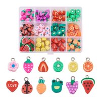 Charms 120pcs box Cute Polymer Clay Pendant Fruit Flower Colorful For Jewelry Making DIY Bracelet Necklace Earring Supplies