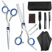 Hair Scissors 7 10pcs Scissor 6 Inch Barber Hairdressing Cutting Professional Shear Stainless Steel Thinning Barbershop Salon Set