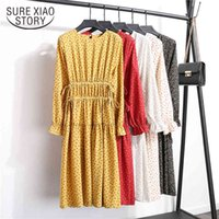Spring Fashion Summer Long Sleeve Retro Crew Neck Floral Print Lace-up Loose Fit Slimming Chiffon Dress Female 8693 50 210510