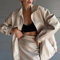 Women's Leather & Faux Fashion Women Jackets Oversize Zipper Bomber Casual Loose Basic Coats Elegant Spring Autumn Streetwear
