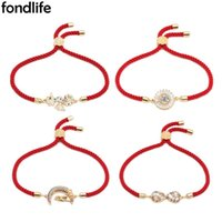 Charm Bracelets Cubic Zirconia Stones Infinity Love Heart Moon Couple Star Sea Horse Bracelet Women Unisex Gold-plated Brass Jewelry