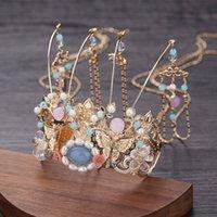 Forseven Tassel largo Phoenix Coronet Perlas simuladas Tiaras y coronas Diademas Palitos China Boda Cabello Joyería