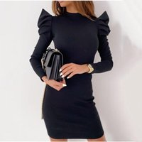 Autumn Female Casual Base All-match Knitted Dress Sexy Slim Solid Puff Sleeve Bag Hip Mini Party Nightclub Dresses